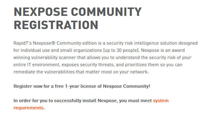 Nexpose community registration