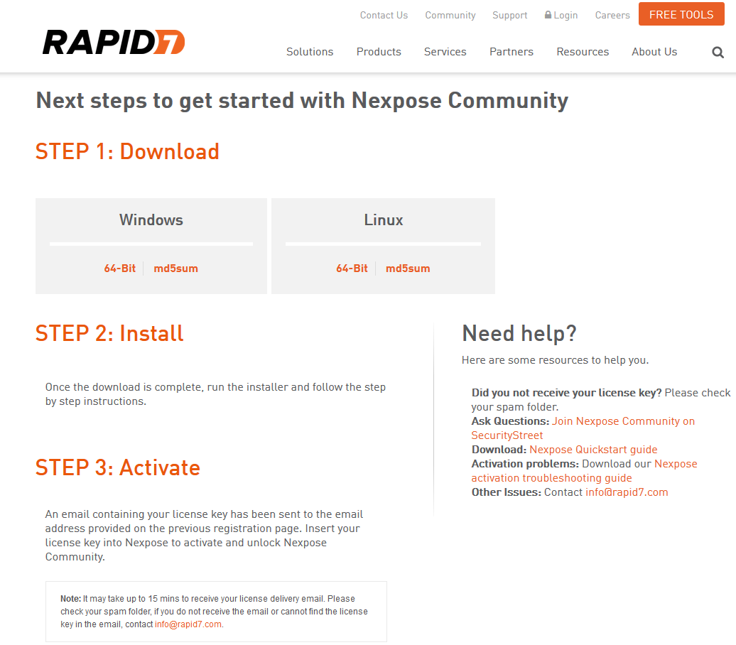 Next steps to get started with Nexpose Community