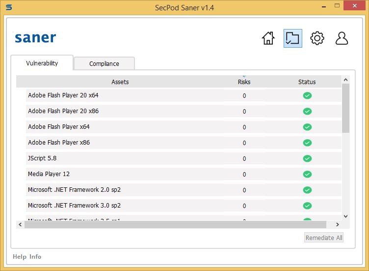Secpod Saner Personal scanning details