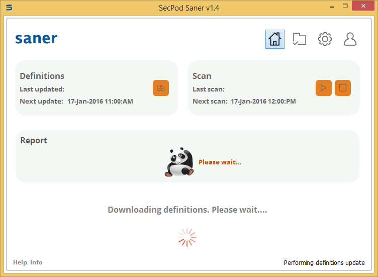 Secpod Saner Personal started to download and install SCAP-content