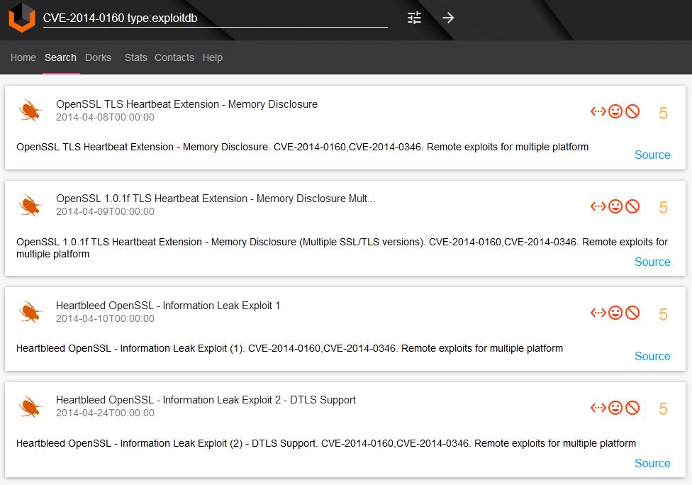 Vulners.com CVE-2014-0160 exploits searching