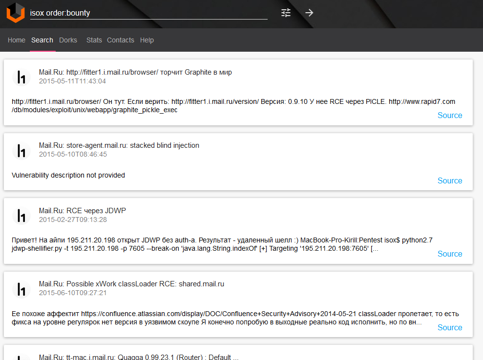 Vulners.com Bug Bounty program search example