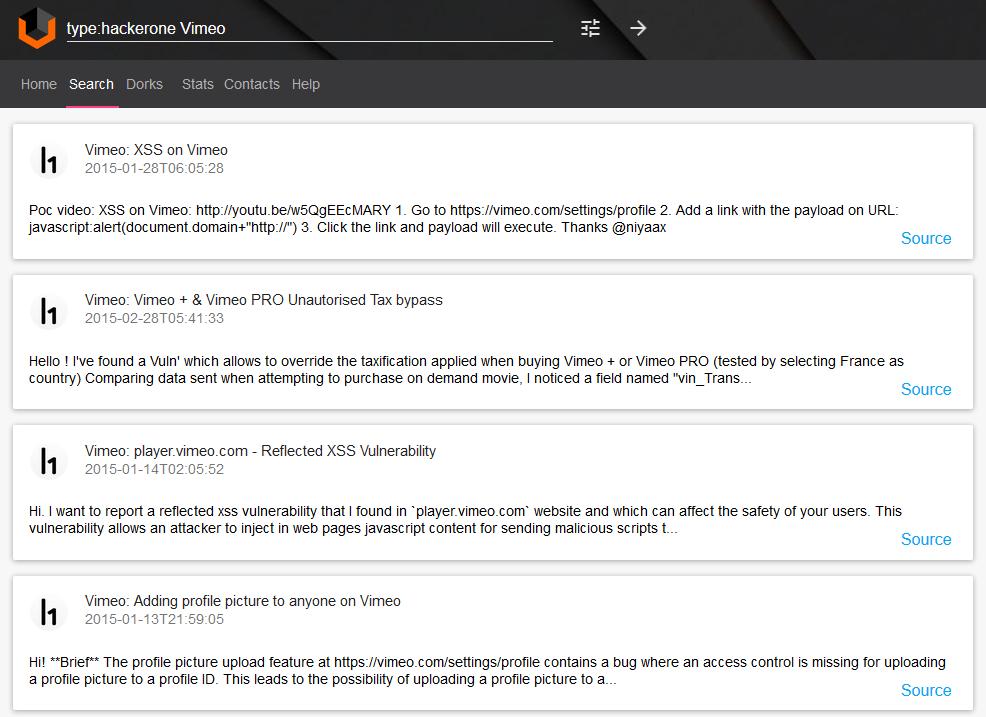 Vulners.com Vimeo vulnerabilities searching