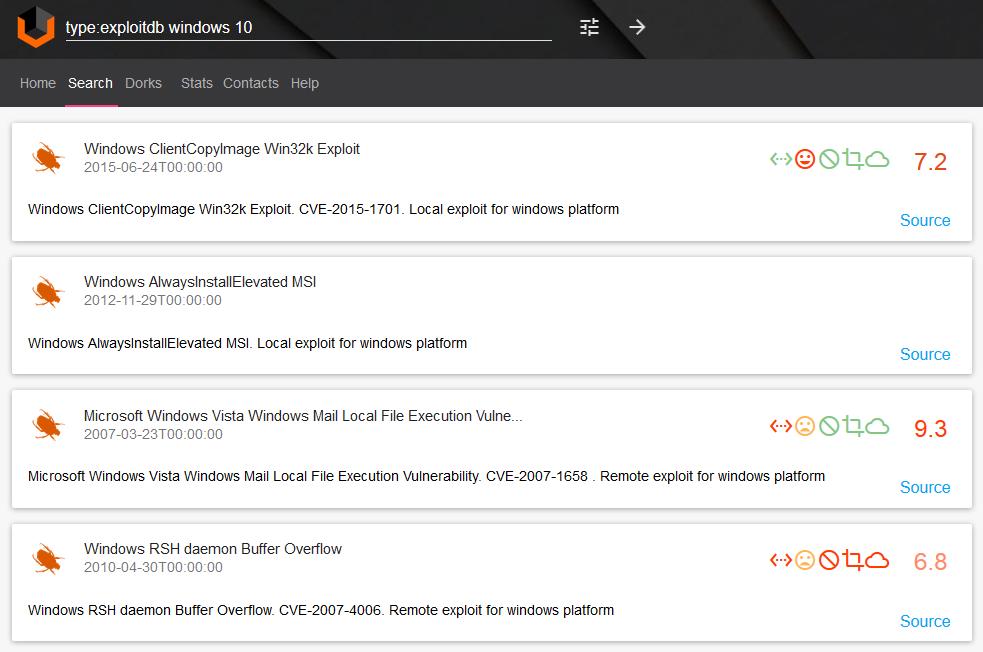Vulners.com Windows 10 exploits