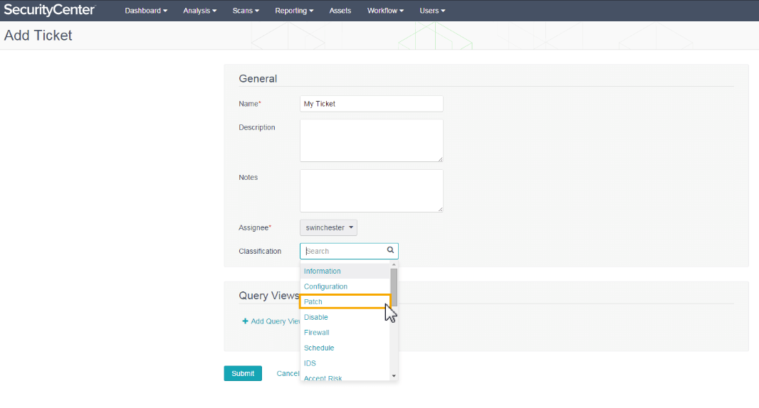 Creating ticket in Tenable Security Center