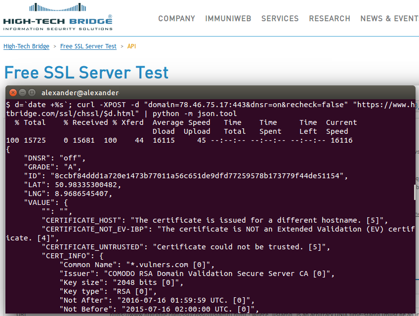 High-Tech Bridge SSL/TLS test request
