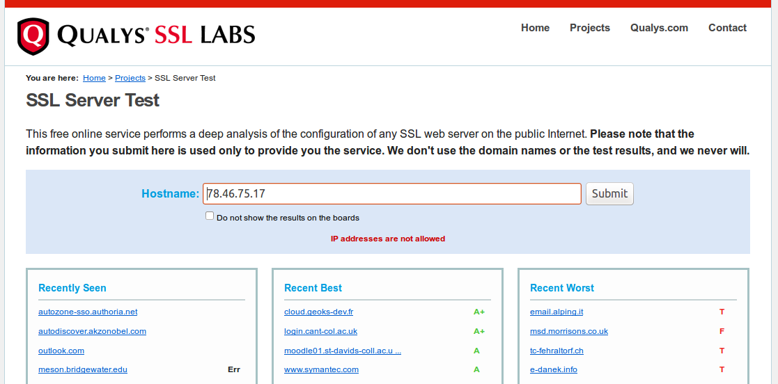 Qualys SSL Labs IP addresses are not allowed