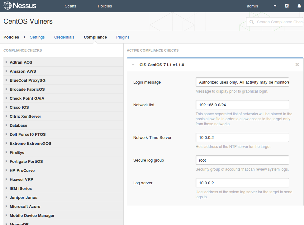 Nessus Compliance Configuration