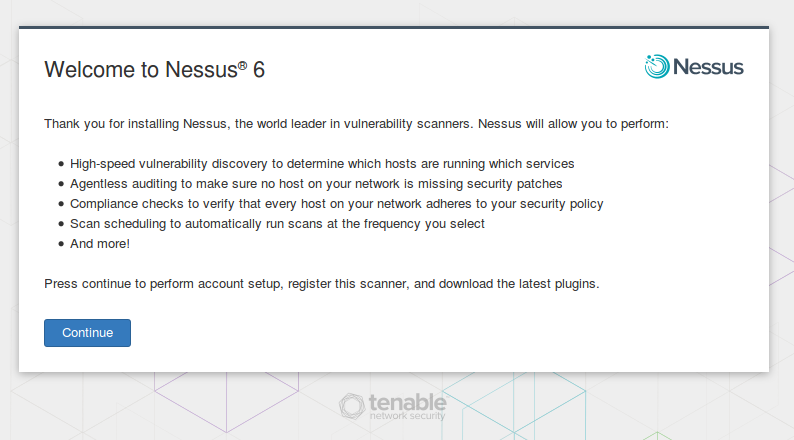 Tenable Nessus: registration, installation, scanning and