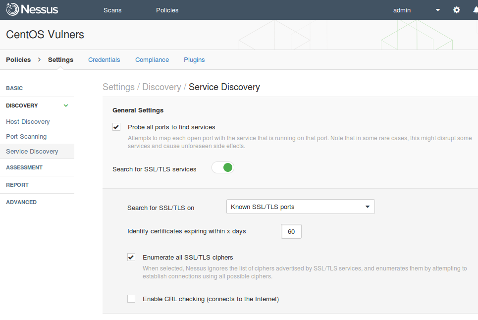 Nessus service discovery settings