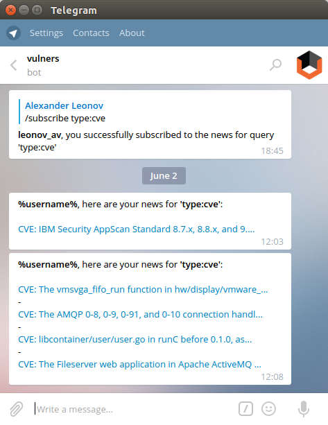 vulners telegram bot search