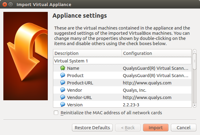 Appliance VM Settings