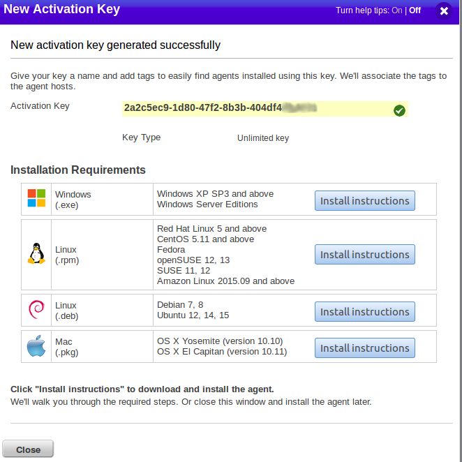 Qualys new agent activation key