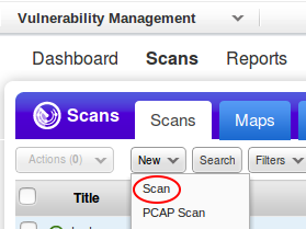 Qualys new scan button