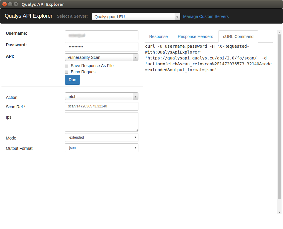 Qualys API explorer result