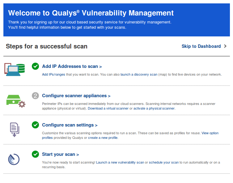 Qualys welcome screen