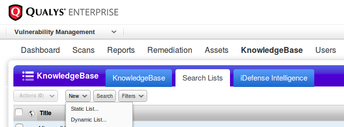 New Qualys Search List