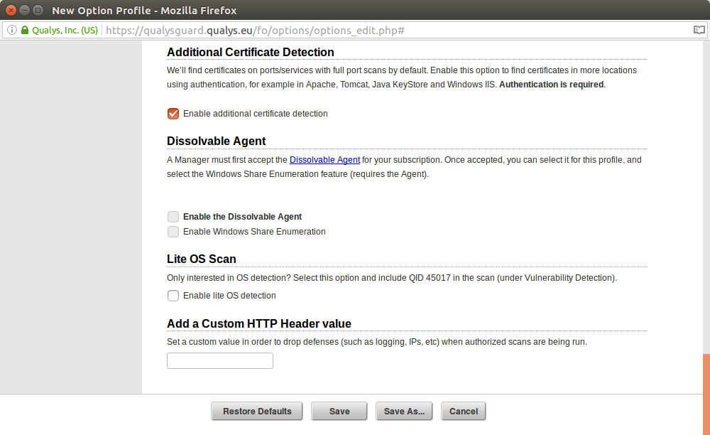 qualys new option profile scan