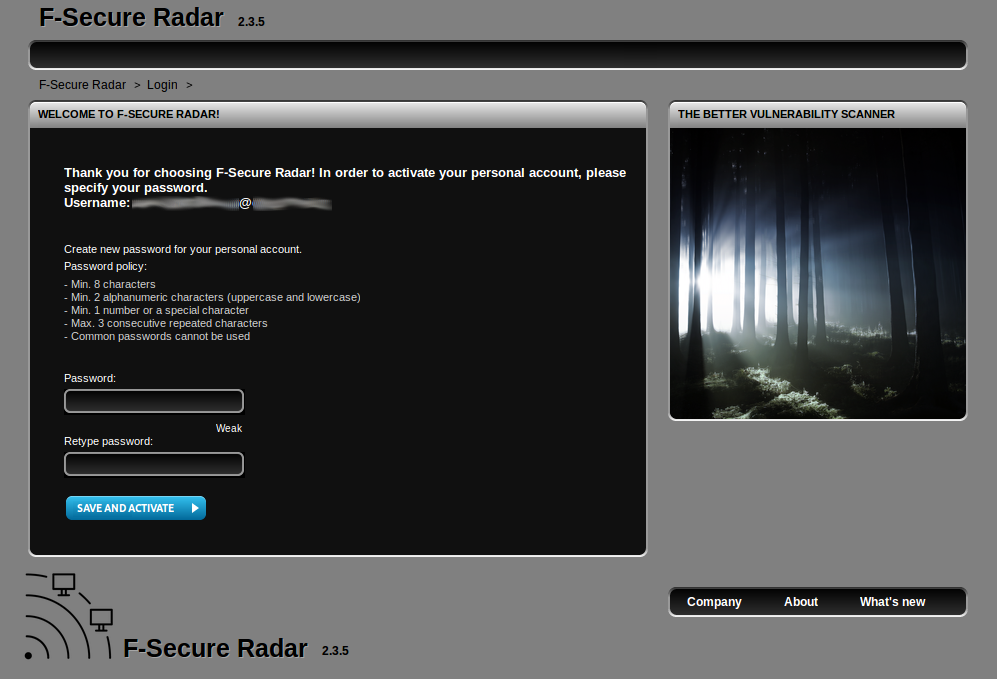 F-Secure Radar New User