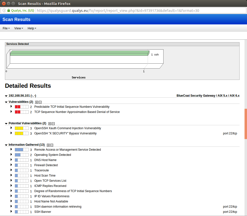 Qualys Scan Results
