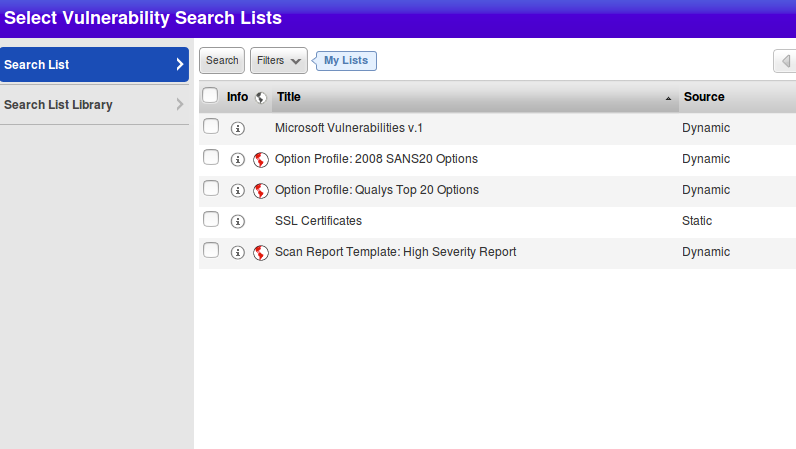 Search vulnerability lists