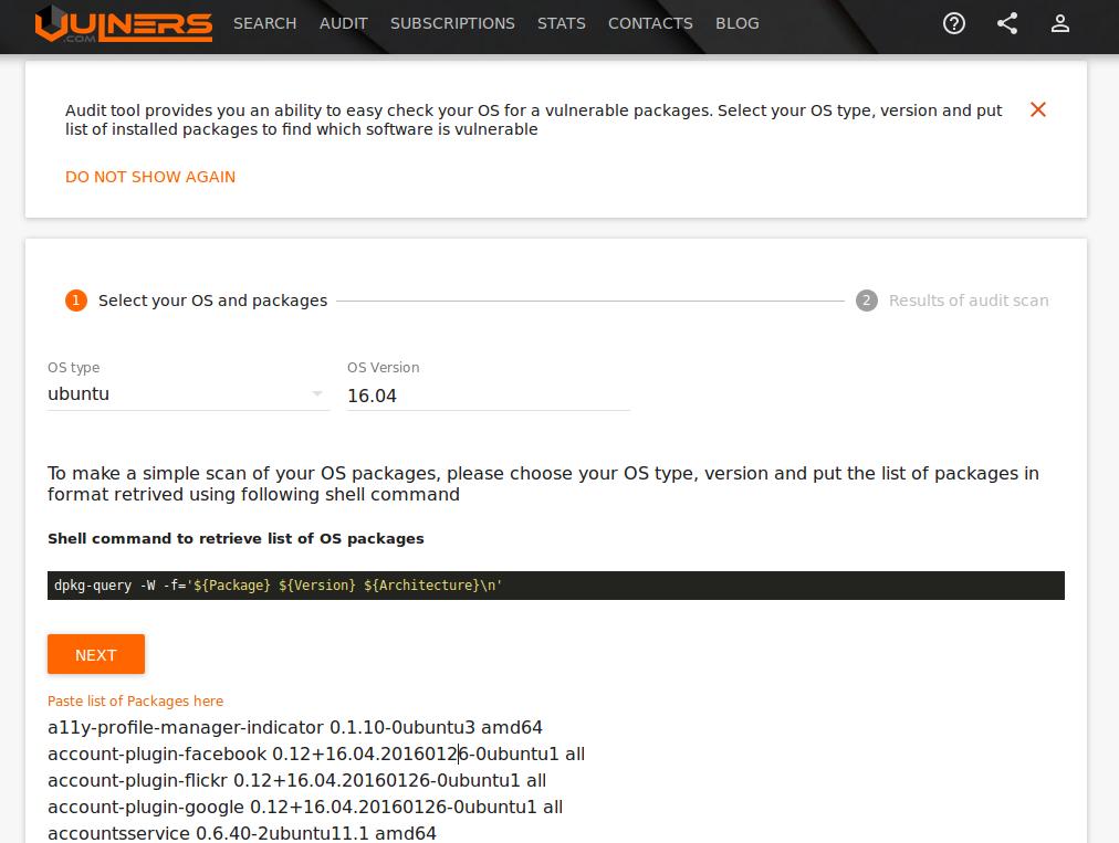 Ubuntu Vulners Linux Audit Input