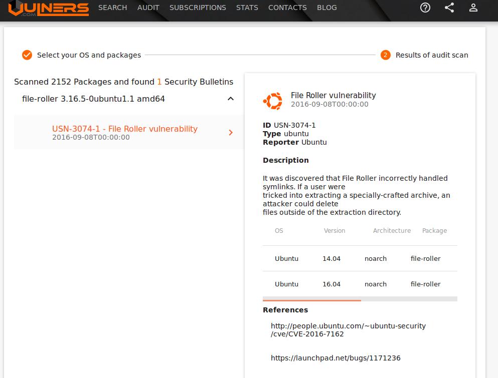 Ubuntu Vulners Linux Audit Results