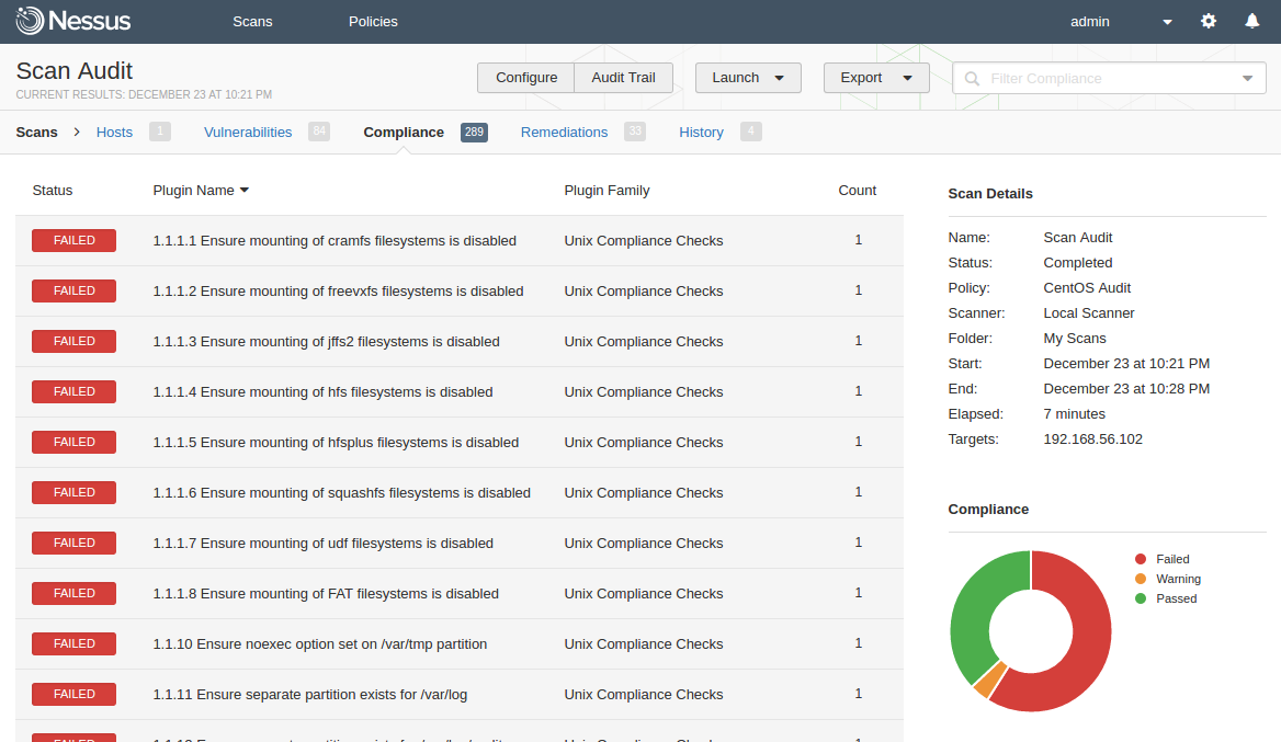 audit-based Compliance Management in Nessus | Alexander V