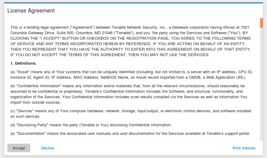 Tenable.io License Agreement