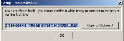 MaxPatrol8 certificate hash