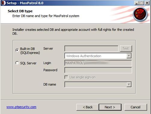 Maxpatrol8 select db type