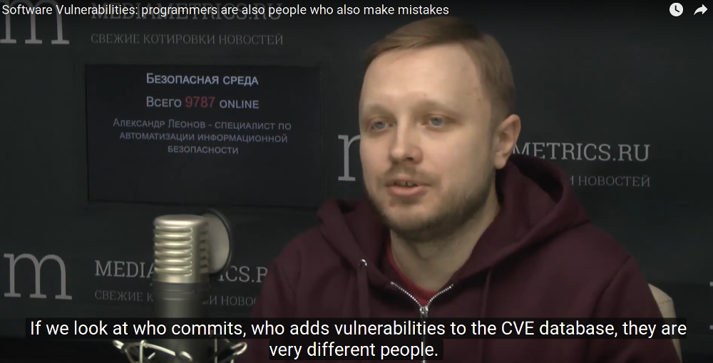 If we look at who commits, who adds vulnerabilities to the CVE database, they are very different people.