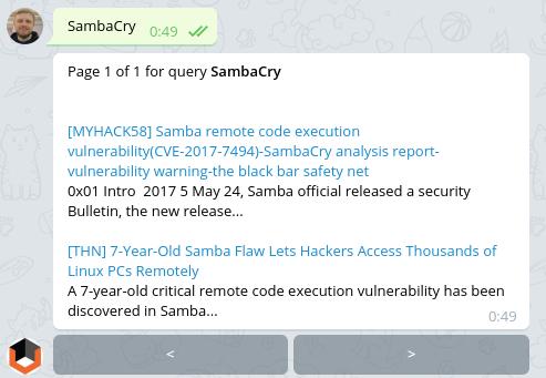SambaCry Vulners Bot Search