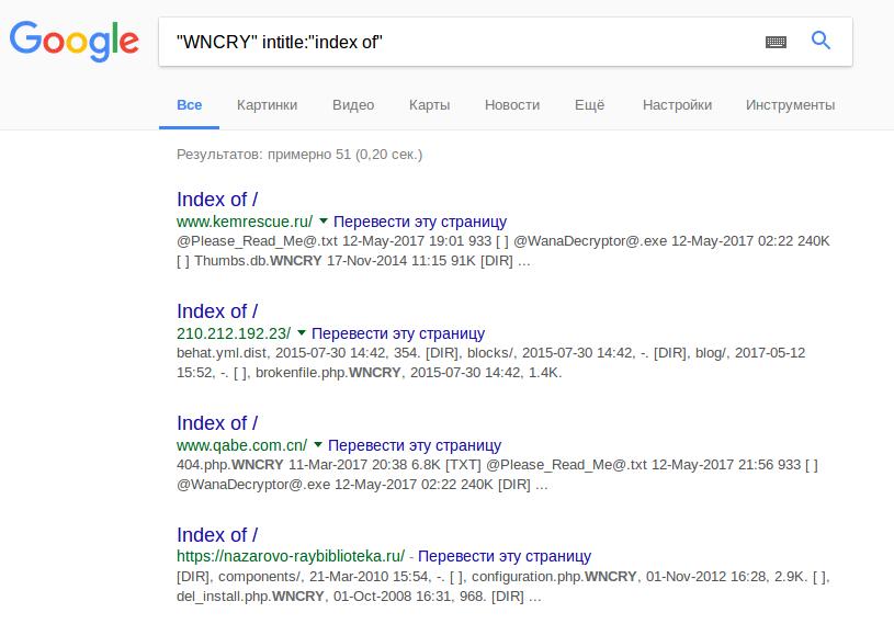 WannaCry Google dork
