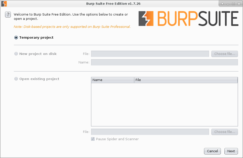 Burp disk based projects