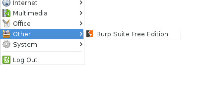 Burp in XFCE Menu