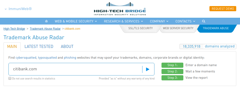 High-Tech Bridge Trademark Abuse Radar input