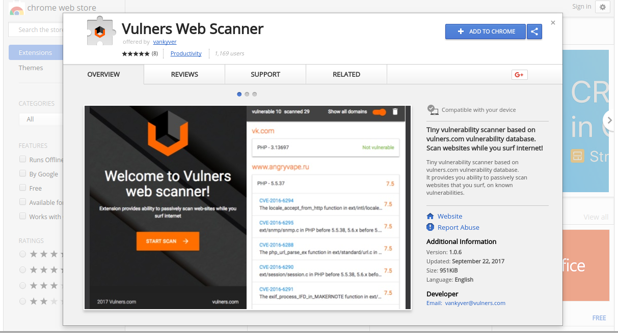 Vulners Chrome extension