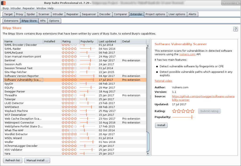 Burp Suite Vulners Plugin