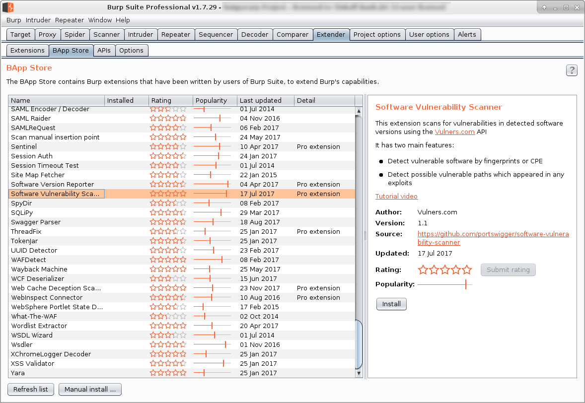 Vulners com vulnerability detection plugins for Burp Suite