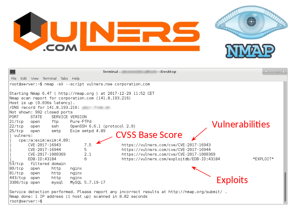 Vulners Nmap vulnerability detection plugin