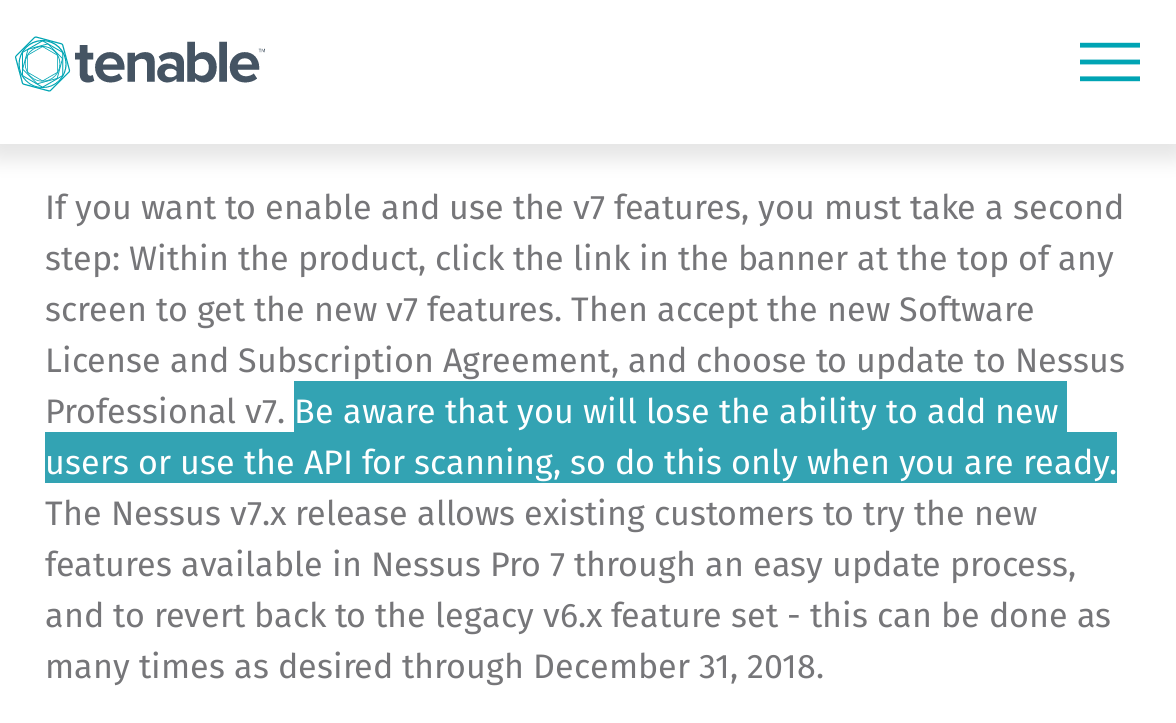 New Nessus 7 Professional and the end of cost-effective