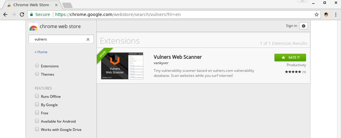 Vulners Web Scanner at chrome webstore