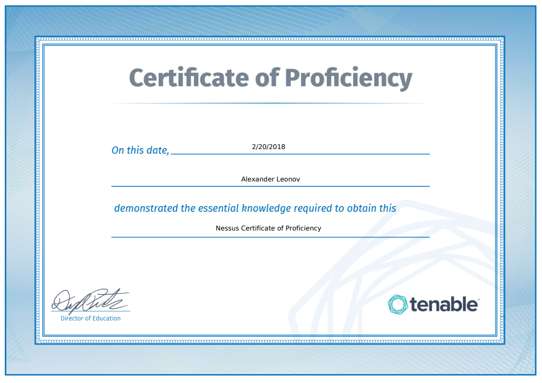 Nessus Certificate of Proficiency