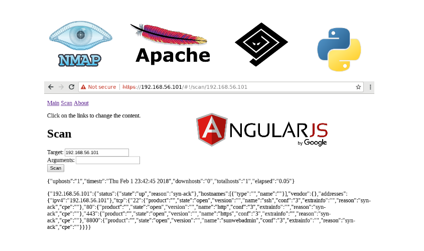 Making simple Nmap SPA web GUI with Apache, AngularJS and