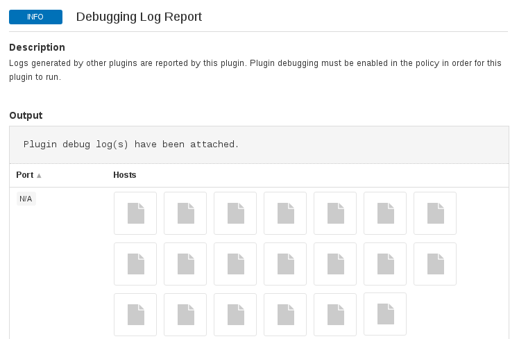 Nessus debugging log report