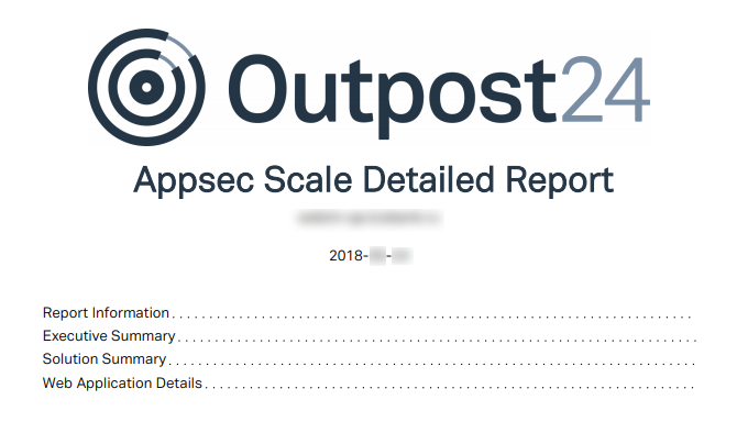 Outpost24 Appsec Scale report content