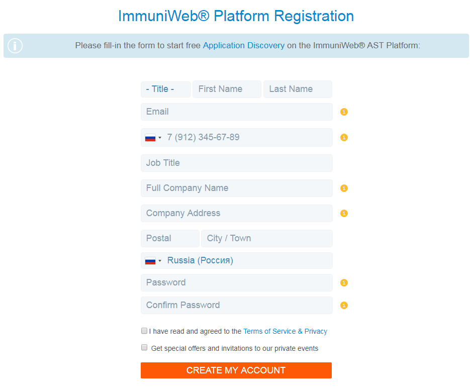 High-Tech Bridge ImmuniWeb Application Discovery Registration form