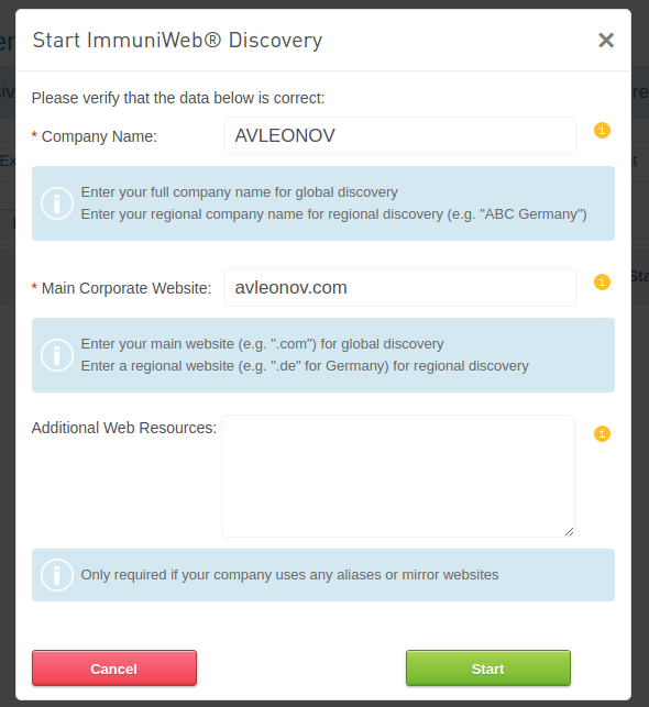 High-Tech Bridge ImmuniWeb Application Discovery start discovery