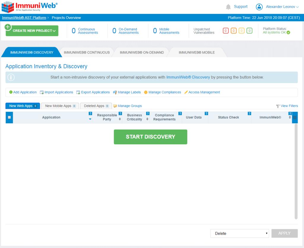 High-Tech Bridge ImmuniWeb Application Discovery start screen